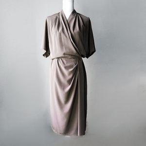 VINTAGE MINIMALIST nude wrap midi batwing dress